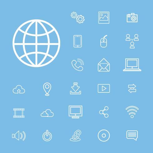 Illustrazione delle icone di tecnologia impostate