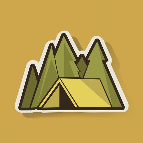 Tenda gialla con il vettore grafico dell'illustrazione di campeggio degli alberi di pino