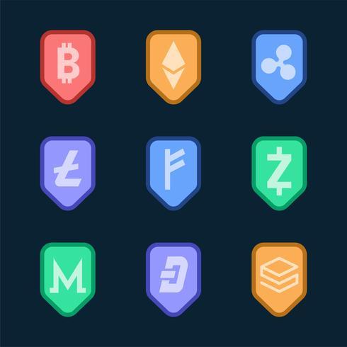 Ensemble de divers vecteur de symbole de trésorerie électronique cryptomonnaies