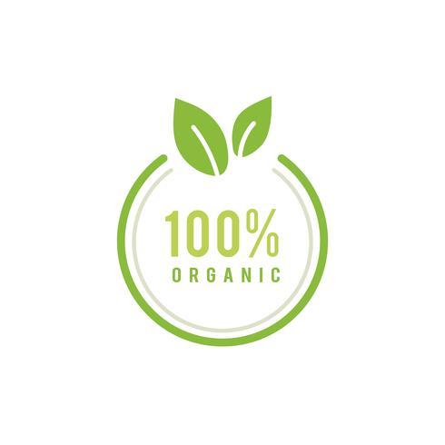 Ilustração de emblema orgânico de 100 por cento