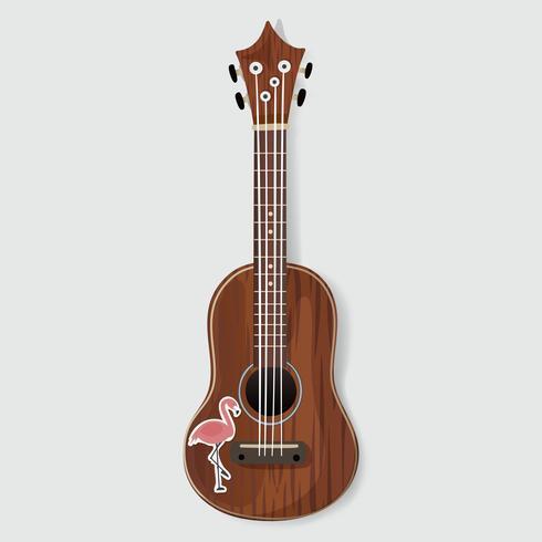 Houten gitaar muziekinstrument met Flamingo Sticker vectorillustratie