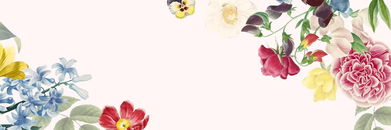 Espaço de cópia de banner floral em branco