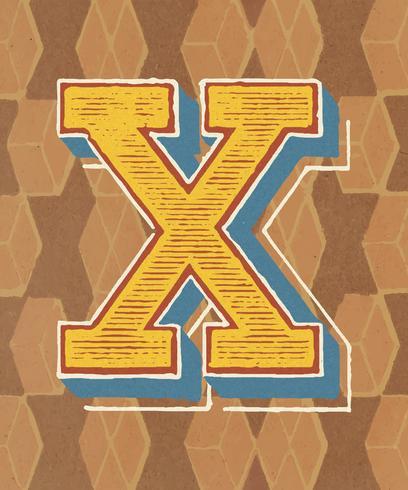 Mayúscula X tipografía vintage estilo