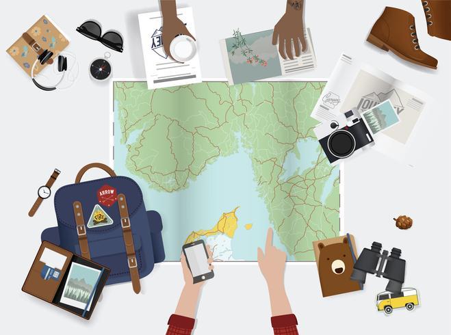 Ilustração de planejamento para uma viagem