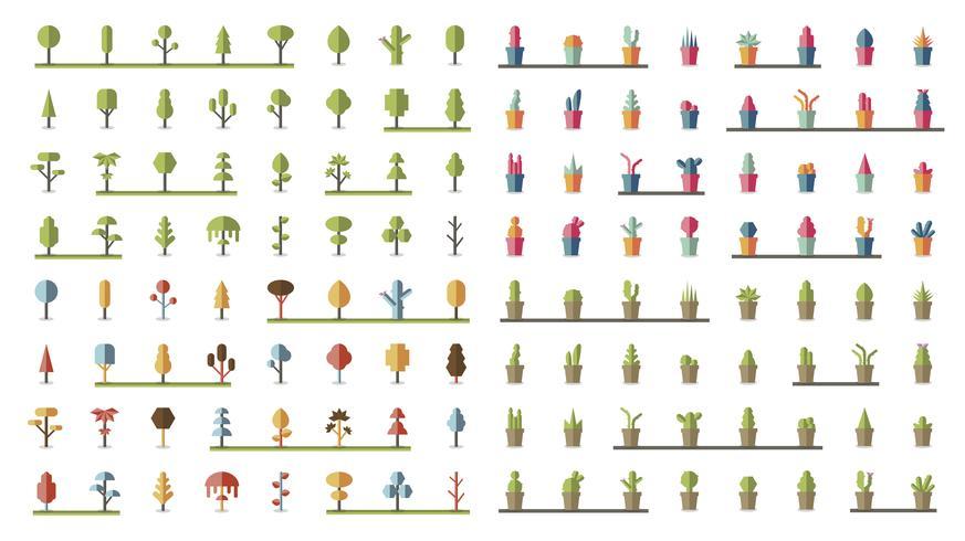 Colección de plantas y vectores de árboles.