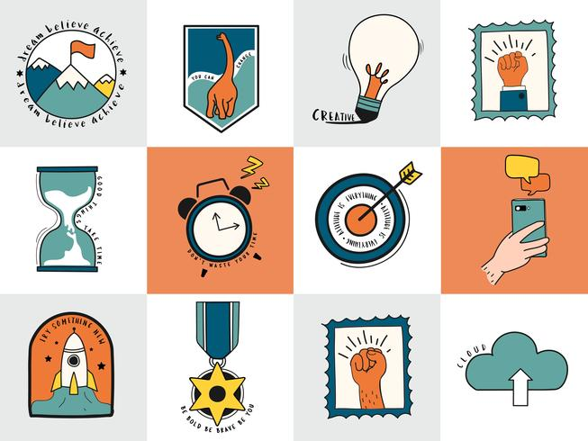 Hand getrokken set van idee en zakelijke symbolen illustratie