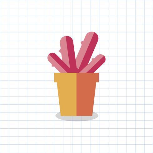 Illustration av en färgad kaktus i en kruka