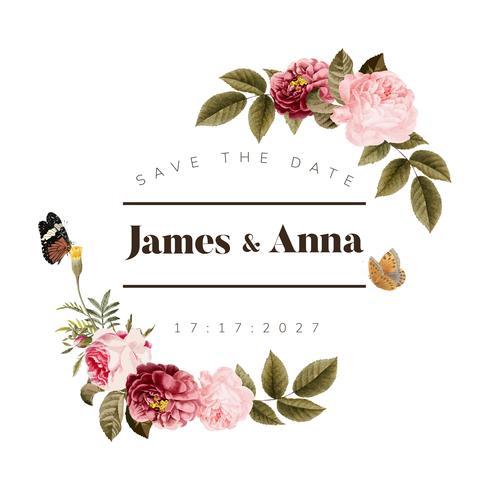 Wedding invitation floral card illustration