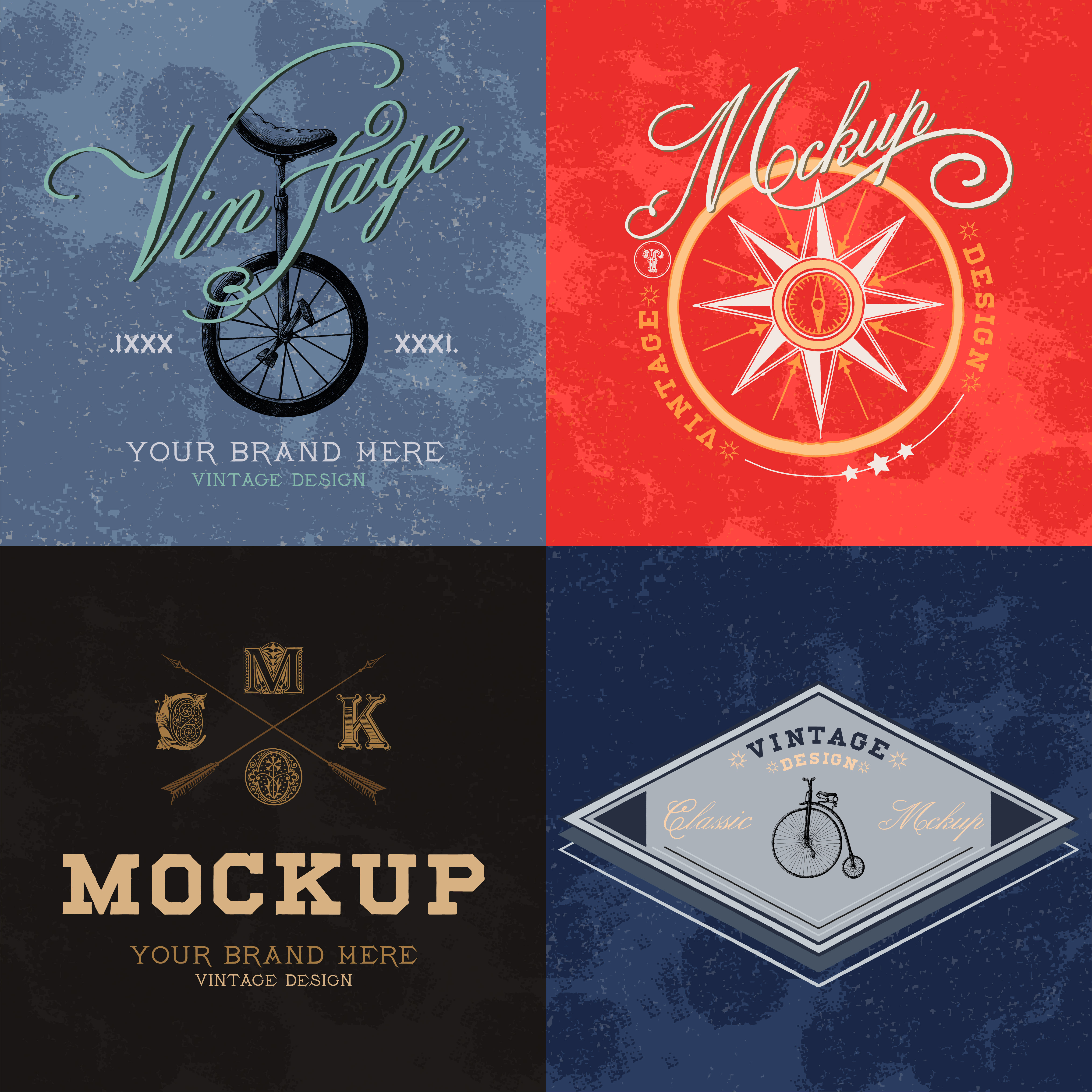 Luxury Logo Mockup On Black Business Card: Set Of Vintage Mockup Logo Design Vector