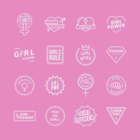 Emblèmes mixtes de pouvoir de fille mis illustration