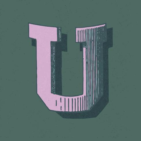 Capital letter U vintage typography style