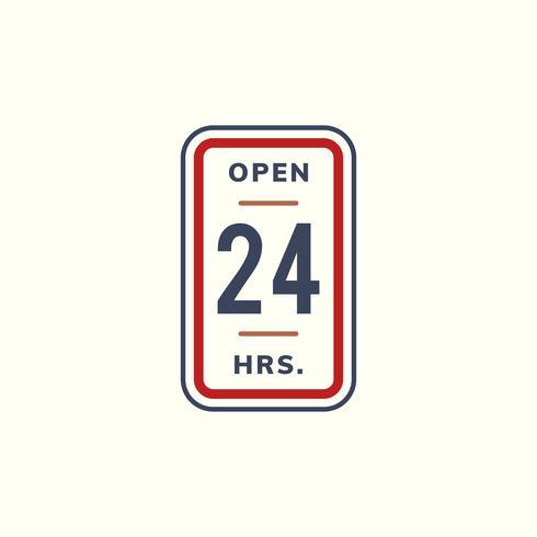 Open 24 hours banner sign illustration