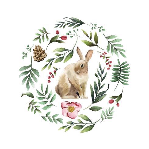 Conejo rodeado de flor de invierno pintado por vector acuarela