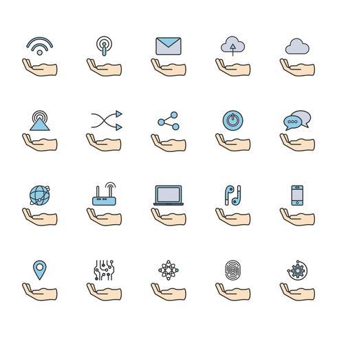 Illustrazione di set di icone di rete online