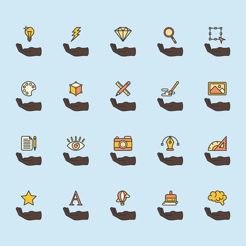 Illustration du jeu d'icônes de conception graphique