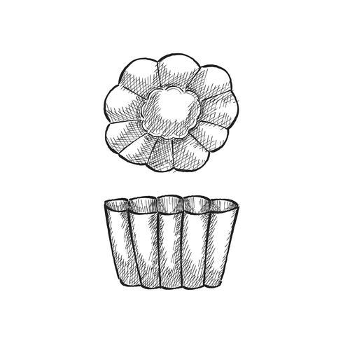 Tappning illustration av en bakning mögel
