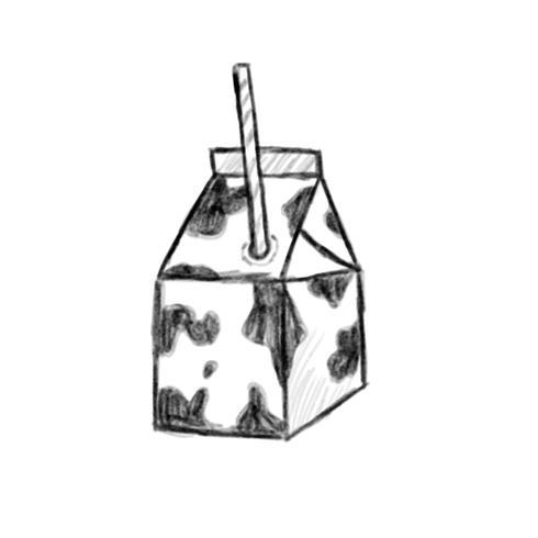 Illustration de l'icône de lait dessiné à la main isolé sur fond blanc