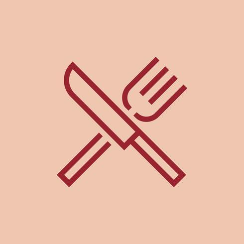 Vettore dell'icona del ristorante della forcella e del coltello