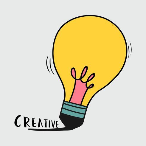 Handritad glödlampa illustration
