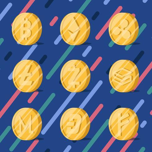Conjunto de várias criptomoedas vetor de símbolo de dinheiro eletrônico