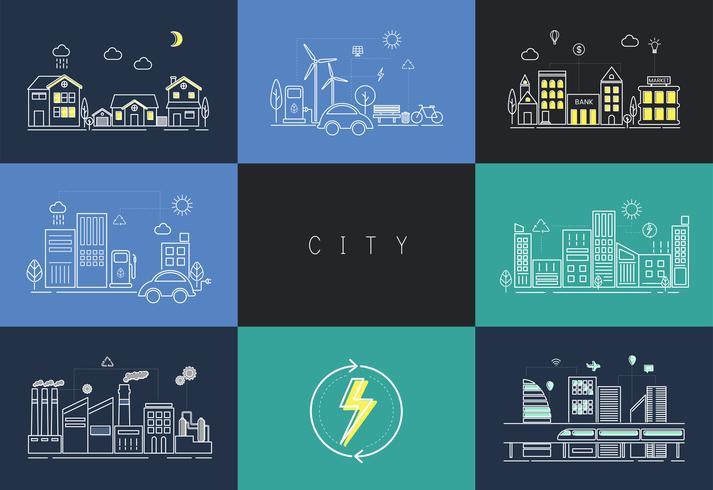 Conjunto de ilustração de uma cidade urbana