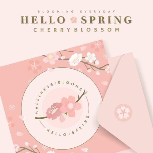 Cherry blossom card illustrations