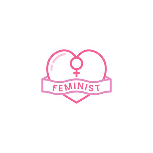 Feministische het embleemillustratie van het hartembleem