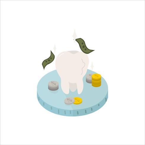 Illustration av en tand och kontanterikonen