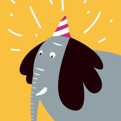 Éléphant de Bush portant un graphique vectoriel de chapeau de fête
