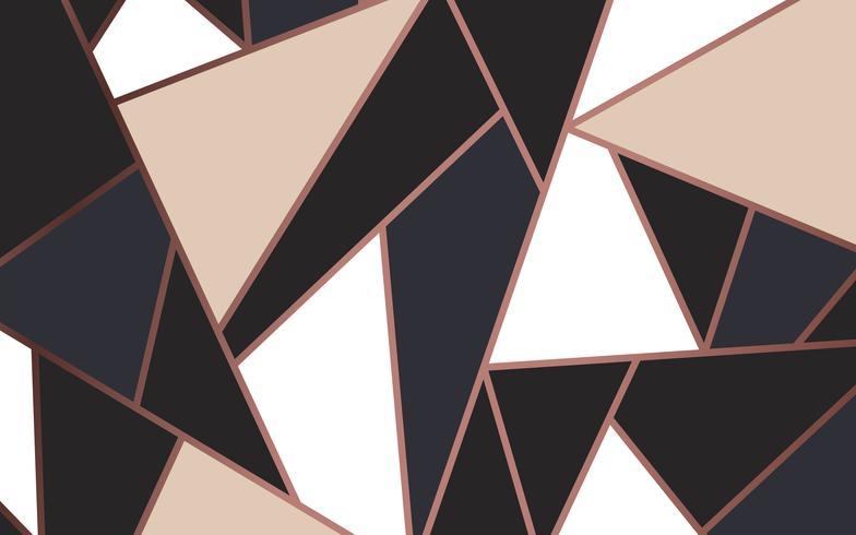 Papel pintado moderno de mosaico en oro rosa, crema y negro