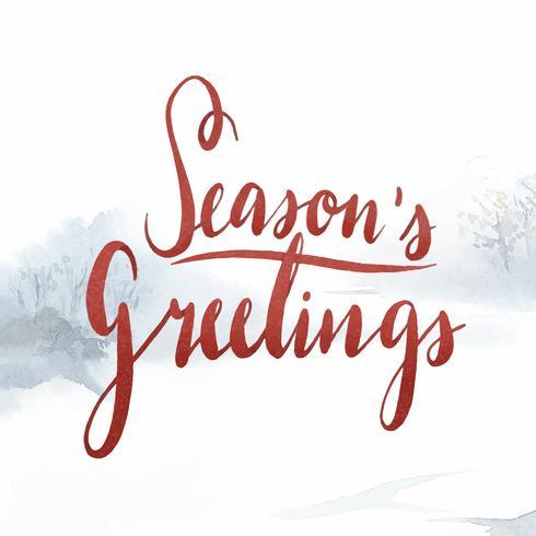 Vettore di tipografia dell'acquerello di saluti di stagioni