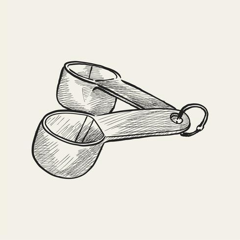 Vinatge illustration de tasses à mesurer