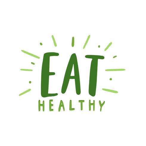 Mangiare sano tipografia vettoriale in verde