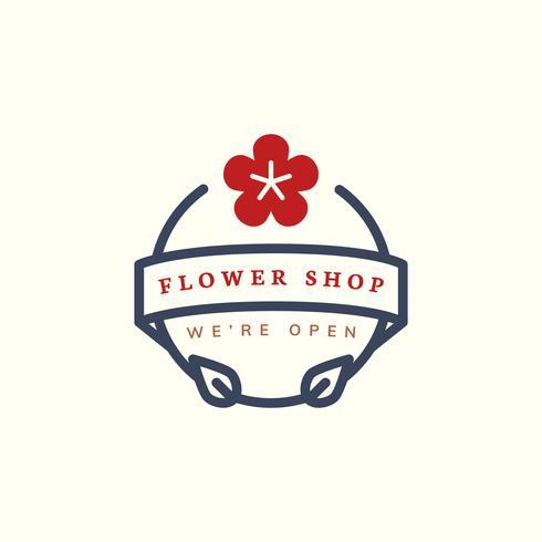 Vettore di progettazione di logo del negozio di fiore