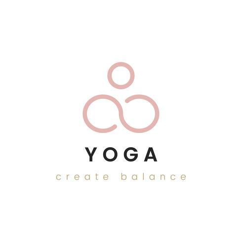 Il disegno di yoga crea il vettore di logo dell'equilibrio