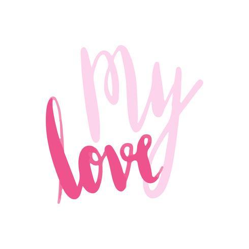 Mi tipografía de amor vector en rosa.