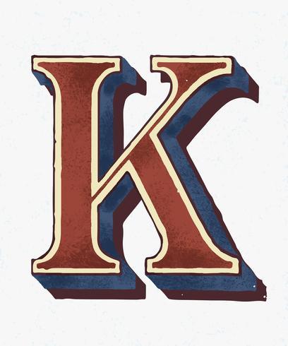 Mayúscula K estilo de tipografía vintage