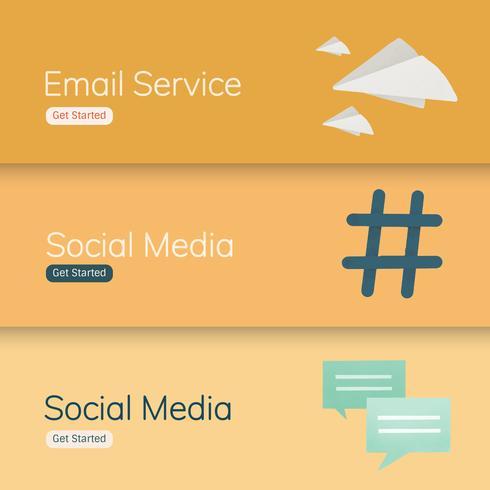 Sociala medier ansökan banner vektorer