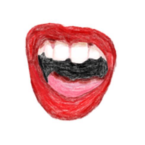 Illustrazione dell'icona della bocca disegnata a mano isolato su priorità bassa bianca