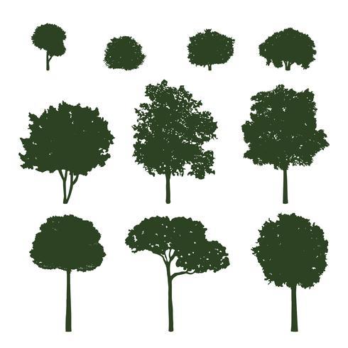 Verzameling van boom silhouetten vector
