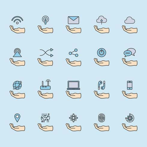 Illustration du jeu d'icônes de réseau en ligne