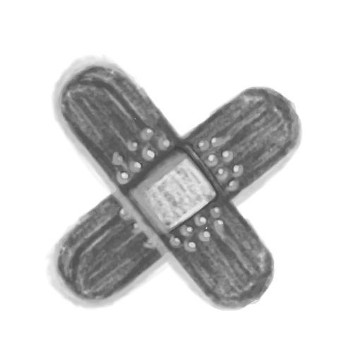 Illustration of hand drawn bandage icon isolated on white background