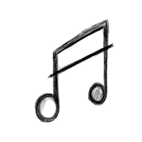 Illustrazione dell'icona della nota drawnmusic della mano isolata su fondo bianco