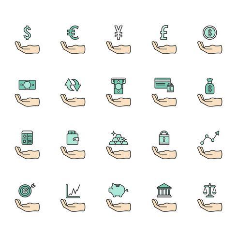 Ensemble d'icônes financières