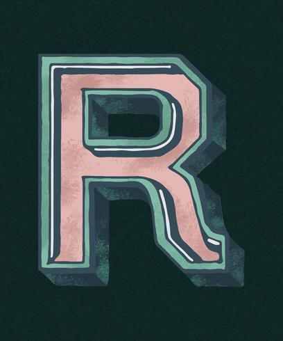 Vintage-Typografieart des Großbuchstaben R