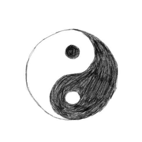 Illustration der Hand gezeichneten Yin Yang-Ikone lokalisiert auf weißem Hintergrund