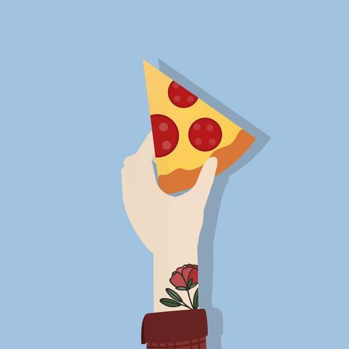 Illustrazione della pizza della holding della mano