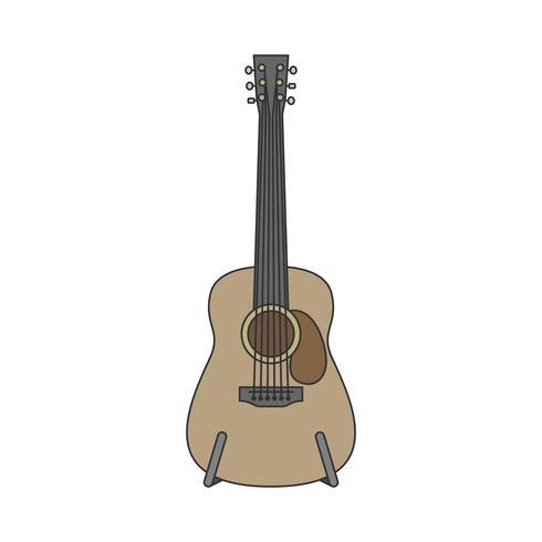 Ilustração de guitarra acústica isolada no branco