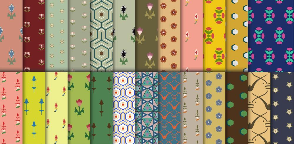 Set of 26 vintage patterns inspired by The Grammar of Ornament