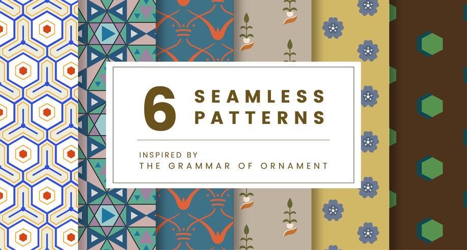 Set med 6 vintage mönster inspirerade av Grammatik av prydnad